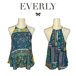 Everly Blue Floral Swing Halter Tank